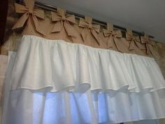 Kitchen curtain beige and white polka dot with bows and Cotton.Valance for the kitchen Kitchen curtain beige and white polka dot with bows and Cotton.