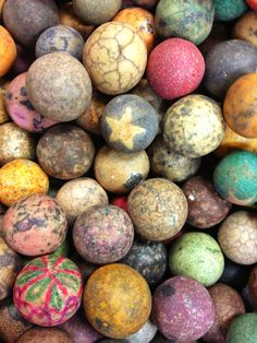 Antique crock marbles - have not heard of these before...homemade for children's games perhaps?