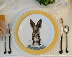 Dapper-Dressed Animals Gather For A Whimsical Table Setting!!! Bebe'!!! Cute Rabbit Placesetting!!!