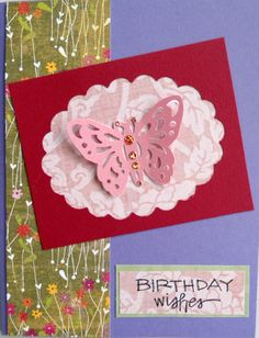 Not a difficult card to make, once you choose your background pieces and colors. The punched out butterfly makes the card spring to life, especially if you add some Dots to it's body...