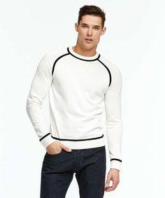 Italian Silk-Cotton Raglan Piped Crewneck Sweater