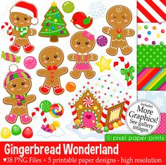 Gingerbread Wonderland - Christmas clipart - Clip Art and Digital paper set