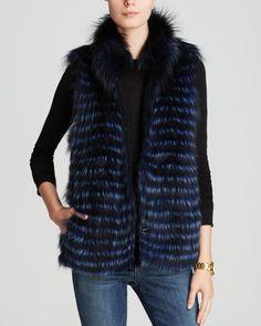 Maximilian Feathered Fox Fur Vest with Drawstring Waist