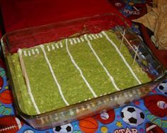 Football Dip, so easy and fun. Seven layer dip with a twist.