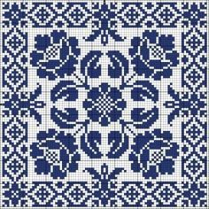 Blue tile Chart for cross stitch or filet crochet. Biscornu Cross Stitch, Cross Stitch Borders, Cross Stitch Flowers, Cross Stitch Charts, Cross Stitch Designs, Cross Stitching, Cross Stitch Embroidery, Embroidery Patterns, Cross Stitch Patterns