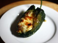 (No egg! YAYY!!!!) Baked Chile Rellenos with Corn and Crema   (It's good with & w/o the corn!)