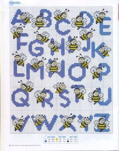Bees alphabet cross stitch pattern a-z cross stitch letters, cross stitch baby Cross Stitch Letters, Cross Stitch Baby, Cross Stitch Animals, Cross Stitch Charts, Cross Stitch Designs, Embroidery Alphabet, Embroidery Patterns, Stitch Patterns, Cross Stitching