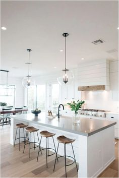 home decor kitchen Tour This Gorgeous Sustainable Home Home Decor Kitchen, Interior Design Kitchen, Home Kitchens, Kitchen Dining, House Kitchen Design, Kitchen Shop, Kitchen Island With Stools, Kitchen With Living Room, Kitchen Cabinets Design