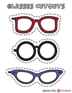 glasses cut outs Diy Photo Booth Props, Photos Booth, Sock Hop Party, 50th Party, Party Props, Holidays And Events, Clip Art, Printables, Grease