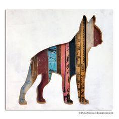 Boston Terrier Silhouette / Dog Walk Mini Gift for by dolangeiman, $125.00