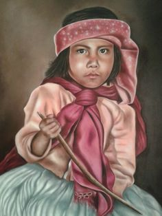 """Niña Tarahumara"" óleo,  autor : Maria Noemi Garfias"