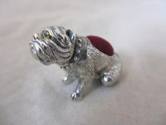 ANTIQUE VICTORIAN STYLE STERLING SILVER BRITISH BULLDOG DOG PIN CUSHION. D104  | eBay