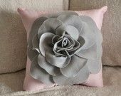 Pillows Light Grey Rose on Light Pink Pillow by bedbuggs Grey Pillow Covers, Cute Pillows, Brown Pillows, Pink Pillows, Grey Roses, Flower Pillow, Gray Bedroom, Bedroom Desk, Master Bedroom