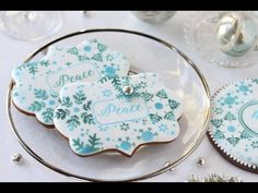 """#NEW VIDEO RELEASE: How to Use My New """"Peace"""" Prettier Plaques Set to Stencil Cookies! Video, cookies, and stencil designs by Julia M Usher. Stencils available at www.stencilease.com/juliausher.htm"""