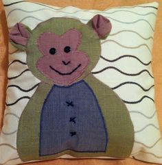 Happy Pillow- Happy Monkey- handmade pillow  35x35 cm  Order at: happy_pillows@yahoo.com