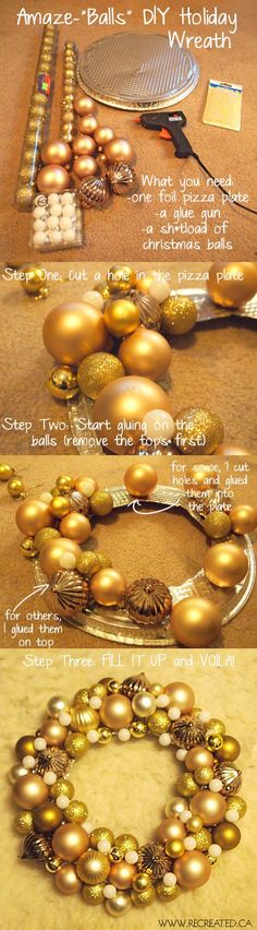 Wreath DIY - simple project made with a pie tin and inexpensive Christmas balls. From recreated.ca