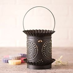The Jumbo Wax Warmer with Chisel in Kettle Black Punched Tin will melt the wax in the pan to create a wonderful scent while emanating a soft accent light. Tart Warmer, Wax Warmers, Wax Tarts, Scented Wax, Country Primitive, Country Farmhouse, Design, Products, Canisters