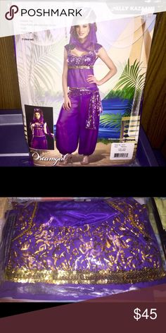 🆕 Pretty Ally Kazaam costume Includes: Peasant Top, Genie Pants with attached Shorts, Scarf and Headpiece[4 piece set] really seductive colors with its gold trims. Perfect for the coming halloween or any other costume party. Smoke/Pet free home; guaranteed Clean ➡️ download for free @poshmarkapp, the #1 app to buy and sell fashion. Sign up with my codePWMFP to get $5. https://bnc.lt/m/te4eMBnLSt Dreamgirl Other