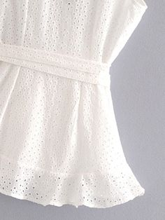 Eyelet Embroidered Wrap Blouse   SHEIN Wrap Blouse, Blouse Online, Jeans, Girl Fashion, Clothes, Shopkins, Shoes, Linen Blouse, Clothing Templates