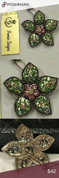 """Vintage Premier Designs """"ALOHA"""" Slide Pend/Rhodium New...Vintage, (Retired), Hard to Find, Premier Designs """"ALOHA"""" Floral, Slide Pendant... Beautiful, Antiqued, *Rhodium Coated Setting w/ A Tropical, Flower Shape, Featuring Bright Green, Lt. Pink & Aurora Borealis Crystals, 1 1/4"""" Diameter...Make An Offer! :-) Premier Designs Jewelry Brooches"""