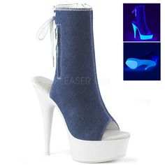 Pleaser Lace Up Canvas Ankle Boot Heel, 1 Platform Open Toe/Heel Back Lace Up Canvas Ankle Boot Featuring Blacklight Reactive Platform Bottom, Full Inside Zip Closure Usa Shoes, Platform Ankle Boots, White Heels, Sneaker Heels, Blue Canvas, Shoe Show, Mid Calf Boots, Crazy Shoes, Blue Denim