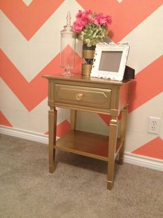 Gold nightstand. Love everything about it.