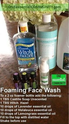 Make your own foaming face wash with essential oils.  This is a great facial cleanser to use on a daily basis.  It works great- calms and cleans troubled skin.  And it smells amazing!  So much less expensive when you make it on your own.  click image for instructions and info on where to get supplies.: