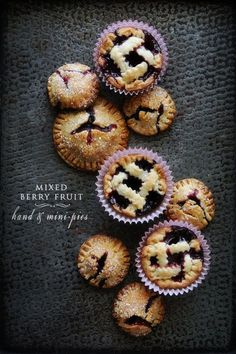 Mixed Berry Fruit Hand & Mini Pies | 19 Tiny Desserts You Can Eat In One Bite Bite Size Desserts, Mini Desserts, Just Desserts, Delicious Desserts, Pie Recipes, Sweet Recipes, Dessert Recipes, Cheesecakes, Fruit Pie