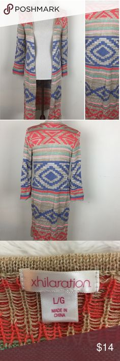 "🆕Aztec Duster Open Cardigan Excellent condition except for small pull I noticed on sleeve hem. Bust approximately 32"" and length 41"". Size large but definitely more of a medium or small. Sweaters Cardigans"