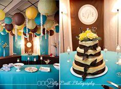 Cheesecake, and bright paper lantern decor.