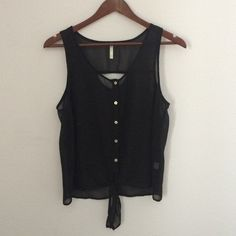 Black sheer tie tank top Perfect fit and softly draped. Cut out detail in back. Tie detail front. Nine Bird Tops Tank Tops