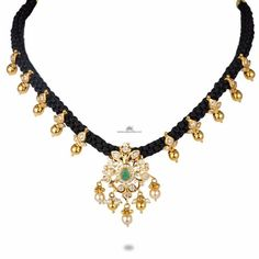 CZ Pachi n Emerald Black thread Gold Jewelry Simple, Mom Jewelry, Pendant Jewelry, Beaded Jewelry, Jewelry Design, Gold Jewellery, Thread Jewellery, Temple Jewellery, Bridal Jewelry