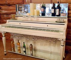 Piano/liquor stand. Shabby chic style white upright piano