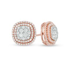 1 CT. T.W. Diamond Cluster Frame Stud Earrings in 10K Rose Gold - View All Earrings - Zales