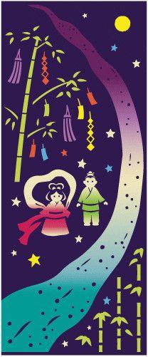 Japanese washcloth, Tenugui カランコロン京都 てぬぐいこよみ天の川【メール便対応可】