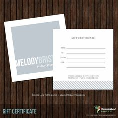 5X5 Photography Gift Certificate. Love the simple front design.