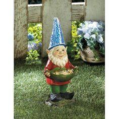 Bird Feeder Gnome Solar Statue Nut Solar Panel Light Hat Garden Yard Decoration #HomeLocomotion