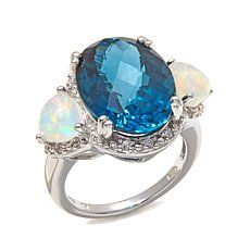 Colleen Lopez London Blue Topaz and Ethiopian Opal Ring