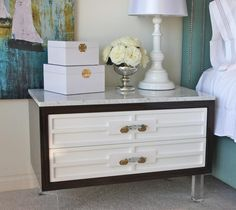 Custom St. Tropez Nightstand with Marble Top