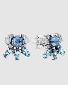 b4f976d17e1c Joyería Mujer. Pendientes en plata y cristal azul Pandora