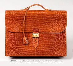 """Hermès vintage crocodile """"sac à dépêches"""""""