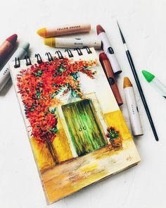 Oil Pastel Colours, Soft Pastel Art, Pastel Artwork, Oil Pastel Paintings, Oil Pastel Drawings, Cool Art Drawings, Colorful Drawings, Chalk Pastel Art, Soft Pastels