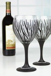 Wild Wine Glasses from @craftideas using Americana Gloss Enamels. #decoartprojects #happy30thdecoart