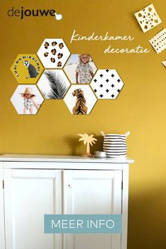 A hexagon photo is a cool way to continue to personalize your walls quickly and easily with your own images. With these fun hexagonal photos on forex, plexiglass or (dibond) aluminum you will never get tired of the walls in your house. Baby Co, Interior Stylist, Cool Tools, Tool Design, Girl Room, Color Trends, New Homes, Wall Decor, Wallpaper