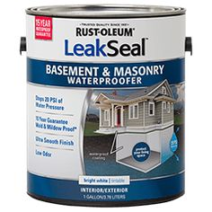 Rust-Oleum® LeakSeal™ Basement and Masonry Waterproofer forms an impermeable and very smooth, bright white barrier to water on interior or exterior, vertical or horizontal, concrete block (not lightweight block) and cast-in-place concrete. Product is not recommended for basement floors. Backed by a 15-year waterproof guarantee, and superior mold & mildew resistance*, it can be used to stop moisture from entering or exiting a concrete surface.