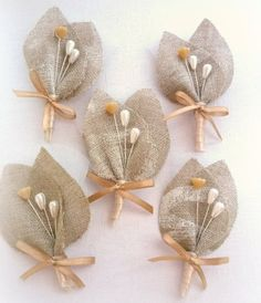 Items similar to SET of 5 Rustic Wedding Men Accessories, Groom's Boutonnieres, Pin, Beige, Buttonhole, Groomsman, Country Weddings, Burlap, Shabby Chic on Etsy