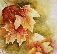 lovely fall leaves - lovely, still life, abstract, fall leaves Watercolor Leaves, Watercolor Landscape, Watercolour Painting, Watercolors, Autumn Painting, Autumn Art, Autumn Leaves Wallpaper, Painted Leaves, Leaf Art