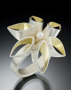 Thea Izzi   Padma Ring - Sterling silver, 22k gold/sterling silver bimetal and freshwater pearl center.