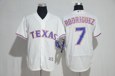 Texas Rangers #7 Rodriguez White Men Flexbase 2017 MLB New Jersey