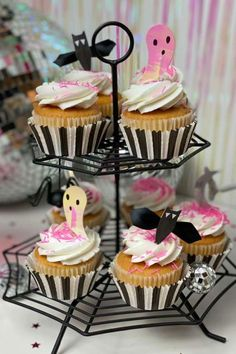 Don't miss this fabulous Disco Halloween party! The cupcakes are awesome! See more party ideas and share yours at CatchMyParty.com  #catchmyparty #partyideas #discohalloween #halloweenparty #halloween Halloween Bingo Cards, Halloween Countdown, Halloween Party Favors, Halloween Cupcakes, Halloween Activities, Family Halloween, Halloween Treats, Halloween Decorations, Family Costumes